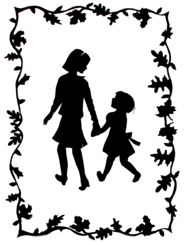 Two Girls on an Autumn Stroll Silhouette