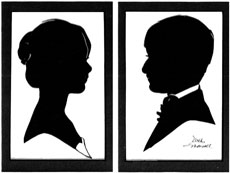 Bride and Groom Double Matted Silhouettes