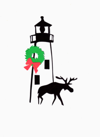 Moose at Pemaquid Lighthouse Christmas Card Color Silhouette