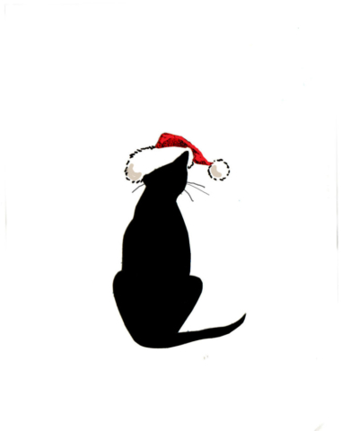 Christmas Cat with Hat Color Silhouette