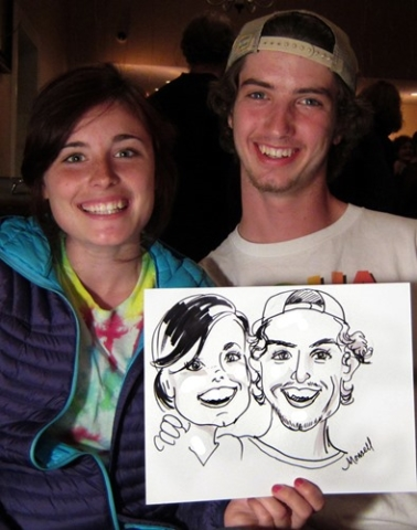 Couple with Their Caricatures