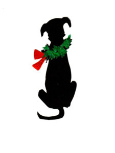 Dog with Christmas Wreath Color Silhouette
