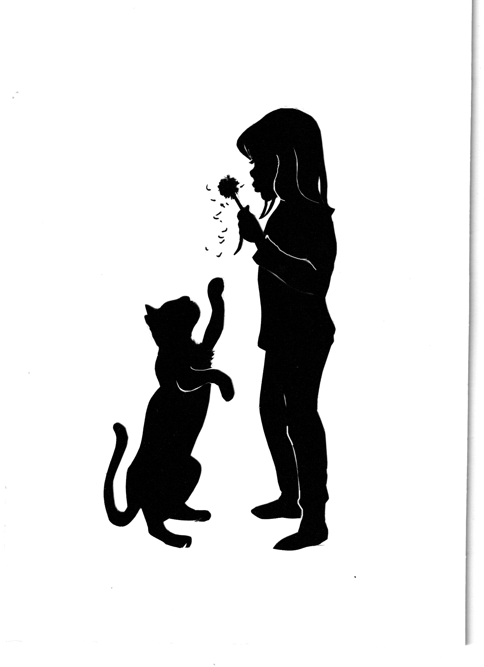 Dandelion Girl and Playful Cat Silhouette