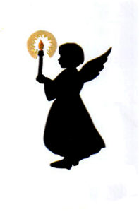 Angel Child with Lit Candle Color Silhouette