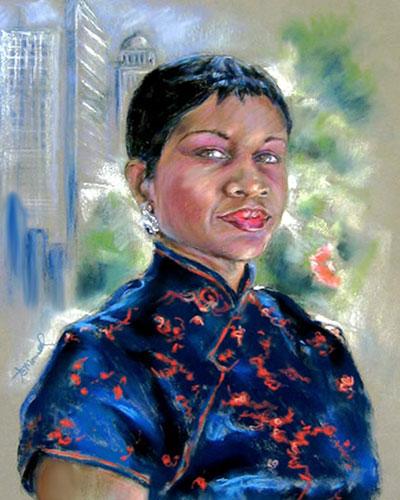 City Lady - Pastel Portrait