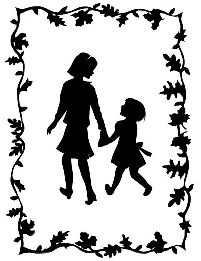 Two Girls on an Autumn Stroll - Silhouette