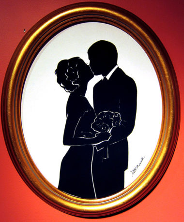 Bride Groom Kiss Framed Silhouettes