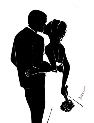 Bride and Groom Kissing - Silhouette