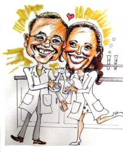 Science Couple - Caricatures