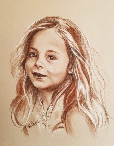 Young Girl - Conte Crayon