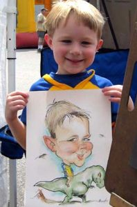 Boy with Dinosaur Caricature