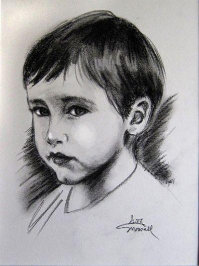 Portrait of a Young Boy Charcoal Portrait