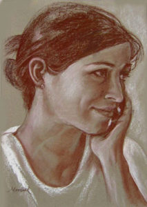 Mother to Be - Conte Portrait
