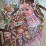 Little Girl with Large Kitty - Pastel Over Gouache on Watercolor Paper
