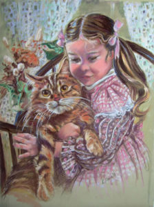 Little Girl with Large Kitty Pastel Over Gouache on Watercolor Paper