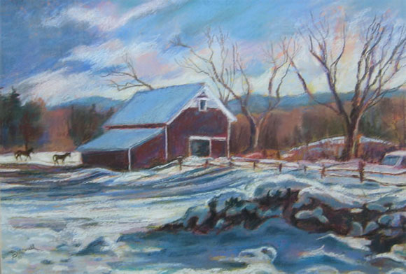New England Barn Pastel Over Acrylic on Prepared Paper