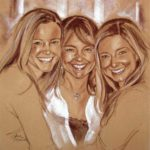 Portrait of Mother and Two Daughters Conte Portrait