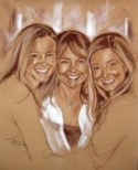 Portrait of Mother and Two Daughters - Conte Portrait