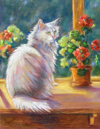 Regal Window Cat Pastel Pet Portrait