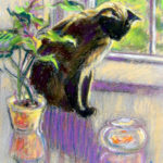 Siamese with Goldfish - Pastel