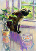 Siamese with Goldfish<br />Pastel